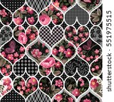 seamless floral patchwork... | Shutterstock .eps vector #551975515