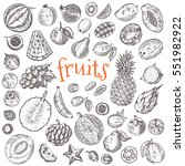 tropical fruits set. hand drawn ... | Shutterstock .eps vector #551982922