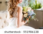 bridal bouquet with red and... | Shutterstock . vector #551986138