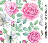 watercolor flower pattern | Shutterstock . vector #551989015