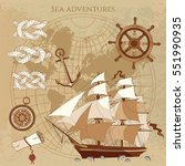 old pirate map. sailing ship ... | Shutterstock .eps vector #551990935