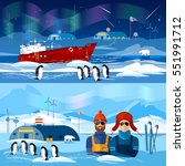 travel to antarctica banners.... | Shutterstock .eps vector #551991712