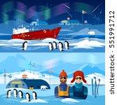 travel to antarctica banners.... | Shutterstock .eps vector #551991712