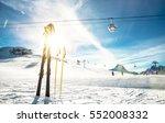 panoramic view of ski resort... | Shutterstock . vector #552008332