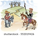 don quixote with his servant ... | Shutterstock .eps vector #552019426