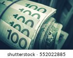 Rolled Polish Zloty Banknotes Closeup Photo. Polish Currency Financial Concept. - stock photo