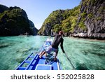 paradise island and crystal... | Shutterstock . vector #552025828
