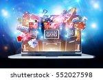 Online Casino Gambling Concept 3D Render Illustration. Las Vegas Casino Games on the Internet. Laptop Computer Concept. - stock photo