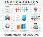 9 infographics. timeline chart  ... | Shutterstock .eps vector #552029296