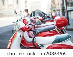 Row Red Vespas  Focus On The...