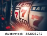 Casino Slot Games Playing Concept 3D Illustration. One Armed Bandit Slot Machine Closeup.  - stock photo