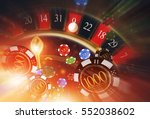 Lucky Casino Roulette and Casino Chips Concept 3D Rendered Illustration. Spinning Roulette Wheel and Blowing Chips Winner Concept. - stock photo