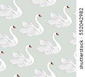white swans seamless pattern.... | Shutterstock .eps vector #552042982