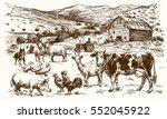 farm animals. hand drawn vector ...   Shutterstock .eps vector #552045922