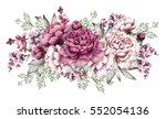pink peonies. watercolor...   Shutterstock . vector #552054136