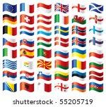 wavy flags set   europe. 48... | Shutterstock .eps vector #55205719