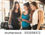 group of sporty female friends... | Shutterstock . vector #552058372