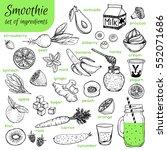 smoothie ingredients hand drawn.... | Shutterstock .eps vector #552071686