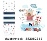 sailor bear and 3 seamless... | Shutterstock .eps vector #552082966