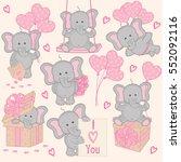 Stock vector set of cute valentine elephant part vector illustration eps 552092116