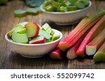 Fresh Rhubarb In White Bowl On...