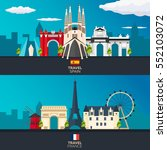 travel to spain and france... | Shutterstock .eps vector #552103072