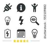 Electric Plug Icon. Lamp Bulb...