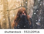 Girl In Winter Forest In...