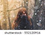 Girl In Winter Forest In...