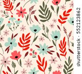 vector floral pattern with... | Shutterstock .eps vector #552123862