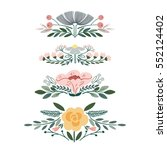 vector set with vintage flower... | Shutterstock .eps vector #552124402