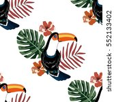 pattern with toucan tropical... | Shutterstock .eps vector #552133402