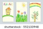 set of wax crayon like kid s... | Shutterstock .eps vector #552133948