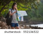 young woman with backpack... | Shutterstock . vector #552136522