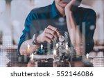 double exposure of people hand... | Shutterstock . vector #552146086