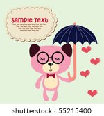 cute doggy with umbrella 6 | Shutterstock .eps vector #55215400