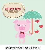 cute piggy with umbrella 2 | Shutterstock .eps vector #55215451
