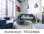 living room with blue... | Shutterstock . vector #552164866