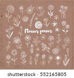 set of doodle sketch flowers on ... | Shutterstock .eps vector #552165805