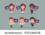 people holding signs vector... | Shutterstock .eps vector #552166018