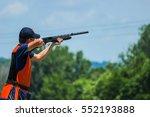 young man skeet shooting... | Shutterstock . vector #552193888
