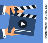 flat movie clapperboard symbol... | Shutterstock .eps vector #552202132