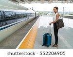 asian traveler woman waiting... | Shutterstock . vector #552206905