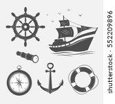 marine theme set   vector... | Shutterstock .eps vector #552209896