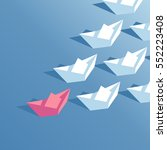 red paper boat floating at the... | Shutterstock .eps vector #552223408