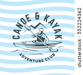 kayak and canoe logo on wave... | Shutterstock .eps vector #552224362
