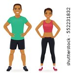 young man and woman in sports... | Shutterstock .eps vector #552231832