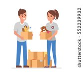 young volunteers with ... | Shutterstock .eps vector #552239932