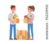 young volunteers with ... | Shutterstock .eps vector #552239932