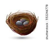 Bird Robin Nest And Blue Eggs...